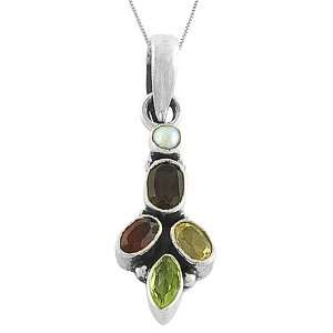 Lovely Multi Gemstone 925 Sterling Silver Pendant W/ 18