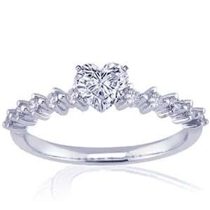 1.10 Ct Heart Shaped Diamond Engagement Ring 14K GOLD G