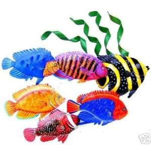 METAL ART SCHOOL OF 6 TROPICAL FISH WALL SCULPTURE