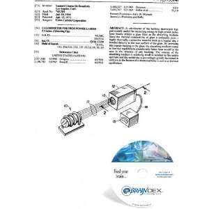 NEW Patent CD for CALORIMETER FOR HIGH POWER LASERS