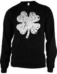 Faded Shamrock Mens Thermal Shirt, Ireland Pride, Four Leaf Clover, St