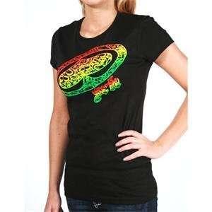 : SRH Womens Rasta Big Spade Scoop T Shirt   Large/Black: Automotive