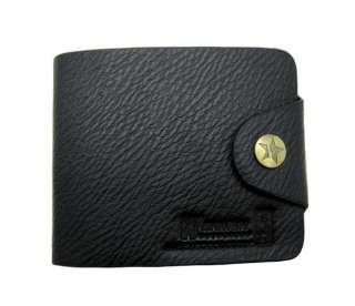 Simple and stylish men black bi fold wallet 829
