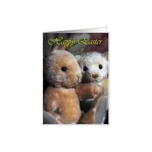 Easter Card With Teddy Bear Rabbit and Teddy Bear Card