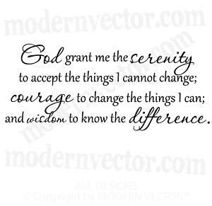 GOD GRANT ME SERENITY Vinyl Wall Quote Decal Lettering