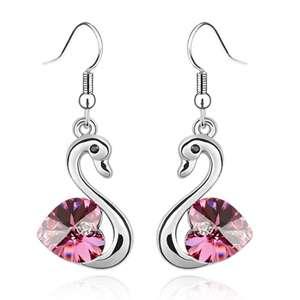 E538 Swarovski Crystal Pink Swan 18k Dangle Earring