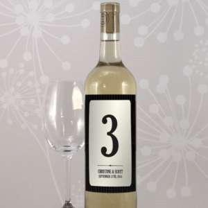12 Black Ivory Wine Bottle Wedding Table Number Labels