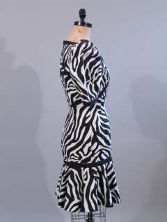 vtg 80s Leslie Lucks black white dress puff slv Wild S