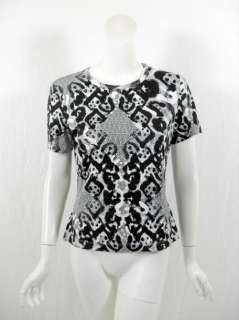 St. John womens black/white print tee top M $195 New