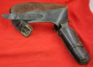 Vintage LEATHER GUN Cartridge BELT HOLSTER Old West Western Revolver