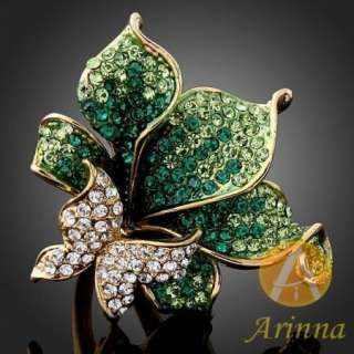 ARINNA Swarovski crystals emerald flowers Gold GP Rings