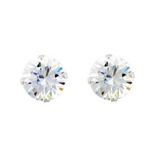 14K White Gold Plated Sterling Silver 9 mm (2.75 Carat