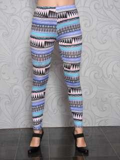 New Womens Ladies Aztec Print Full Length LEGGINGS Trousers Size S/M/L