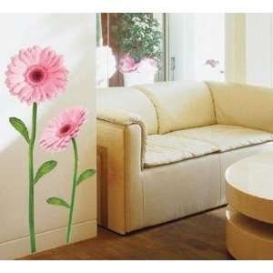 PINK GERBERA ART WALL DECOR MURAL STICKER PS 58008