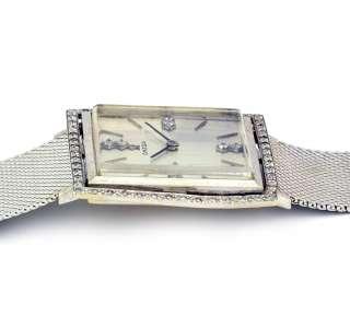 Vintage Omega Diamond Bezel Lady Watch Square 14k Gold