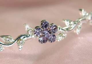 Bridal Flower Purple Crystal Headband Tiara T1262