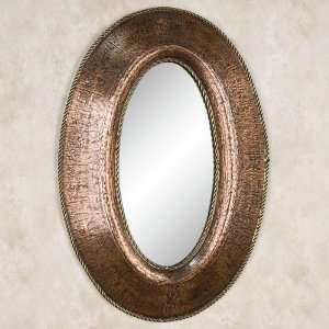 Petite Oval Lightly Hammered Copper Mirror with Brass