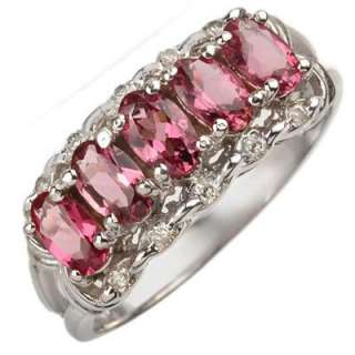 Genuine 1.15 ctw Pink Tourmaline & Diamond Ring Gold