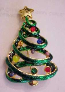 MULTI COLOR RHINESTONE and ENAMEL CHRISTMAS TREE PIN BROOCH PENDANT