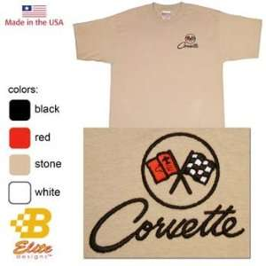 C2 Corvette Emblem Embroidered On American Made Tee Shirt