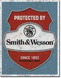 PROTECTED BY Smith & Wesson gun ad TIN SIGN Shield 1682