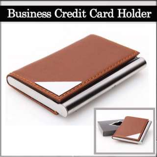 Stylish ID Business Credit Card Holder Case Wallet Aluminum+Artificial