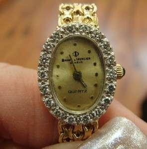 GOLD BAUME MERCIER GENEVE DIAMOND WRISTWATCH ORIGINAL BOX 17G