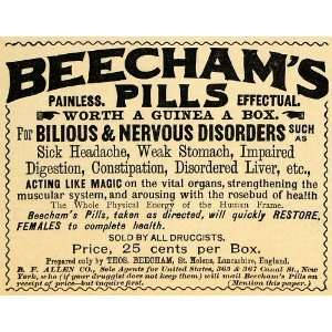 1890 Ad Beecham Pills Bilious Nervous Disorders Pain