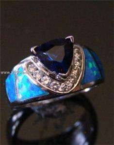 BLUE FIRE OPAL SAPPHIRE 925 STERLING SILVER RING 9 (1)