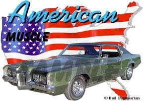 1969 Green Pontiac Grand Prix b Hot Rod USA T Shirt 69