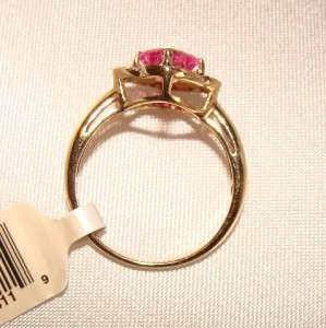 SOLID 10K GOLD PINK CREATED LAB SAPPHIRE RING SZ 7 YELLOW GOLD