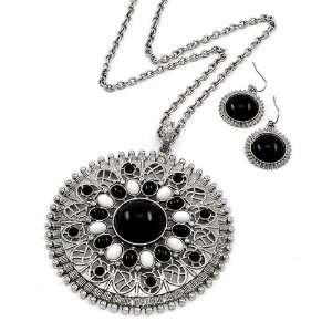 Black and White Acrylic Pendant Necklace and Earrings Set Jewelry