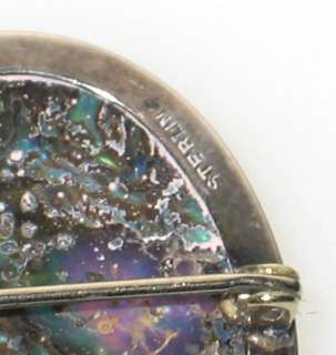 ANTIQUE MOTHER of PEARL / ABALONE CAMEO STERLING BROOCH