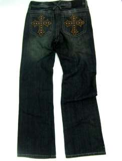 Mens XTREME COUTURE Jeans Leather Studded Cross 32x32