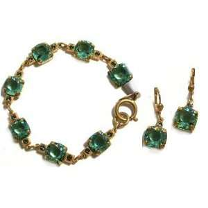 Catherine Popesco 14K Gold Plated Set of Dangle Earrings and Bracelet