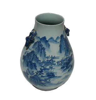 Chinese Porcelain Blue White Mountain Scene Vase s2098