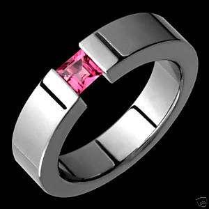 Titanium Pink Tourmaline Tension Set Wedding Band Ring