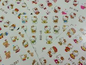 6Sheets x200 Design Hello Kitty Nail Art Water Decals Transfer Film