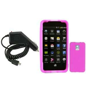 iNcido Brand LG G2x/Optimus 2x Combo Trans. Hot Pink Silicon Skin Case