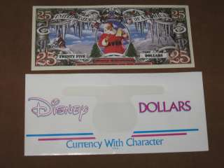Santa 25 MERRY CHRISTMAS Dollars Novelty Note + Disney dollar envelope