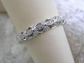 ANTIQUE STYLE SOLID 14KT WHITE GOLD FILIGREE DIAMOND WEDDING BAND DECO