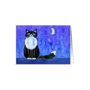 Winter Blue Moon Tuxedo Kitty Cat Card Health & Personal