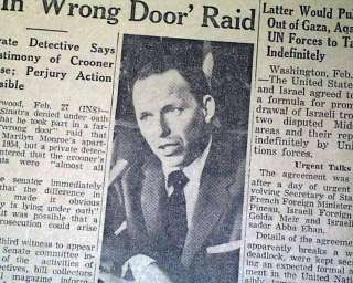SINATRA Marilyn Monroe Joe DiMaggio Wrong Door Raid 1957 Newspaper