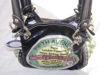 Zeeland Black Fifth Avenue Paris World Traveler Purse Handbag