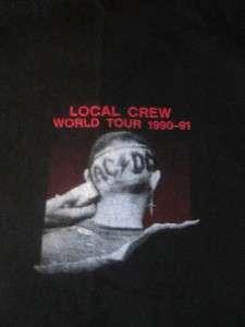 Black Local Crew 1990 1991 World Tour T shirt Unworn Concert XL Angus