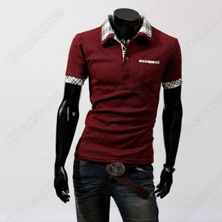 Mens Stand Collar Slim Fit Scotland Check Dress Casual Polo Shirts Red
