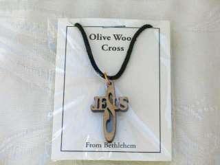 Olive Wood Olivewood Cross Pendant Necklace Holy Land