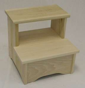 Amish Handcrafted Solid Wood Bed Stool Step Stool