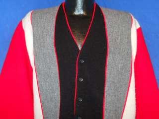 vintage 60S CAMPUS RED BLACK GREY VERTICAL STRIPE CARDIGAN ROCKABILLY