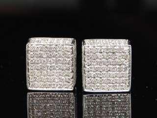 MENS LADIES WHITE GOLD DIAMOND 3D CUBE STUD EARRINGS
